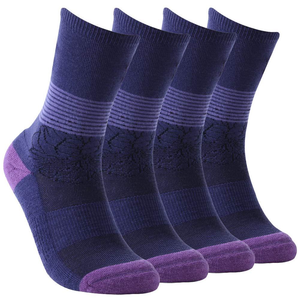 Tennis Socks,Women's Extra-fine Merino Wool Crew Socks Moisture Wicking Athletic Outdoor Cushioned Socks Sports Hiking Socks Vive Bears,4 Pairs by Vive Bears