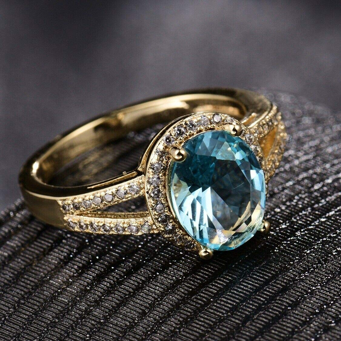 Silamanee Jewelry Exquisite Oval Blue Aquamarine Crystal Infinity 18K Gold Platinum Filled Ring 8