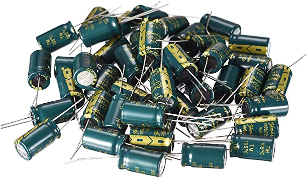 uxcell Aluminum Radial Electrolytic Capacitor Low ESR Green with 1000UF 25V 105 Celsius Life 3000H 10 x 17 mm High Ripple Current,Low Impedance 50pcs