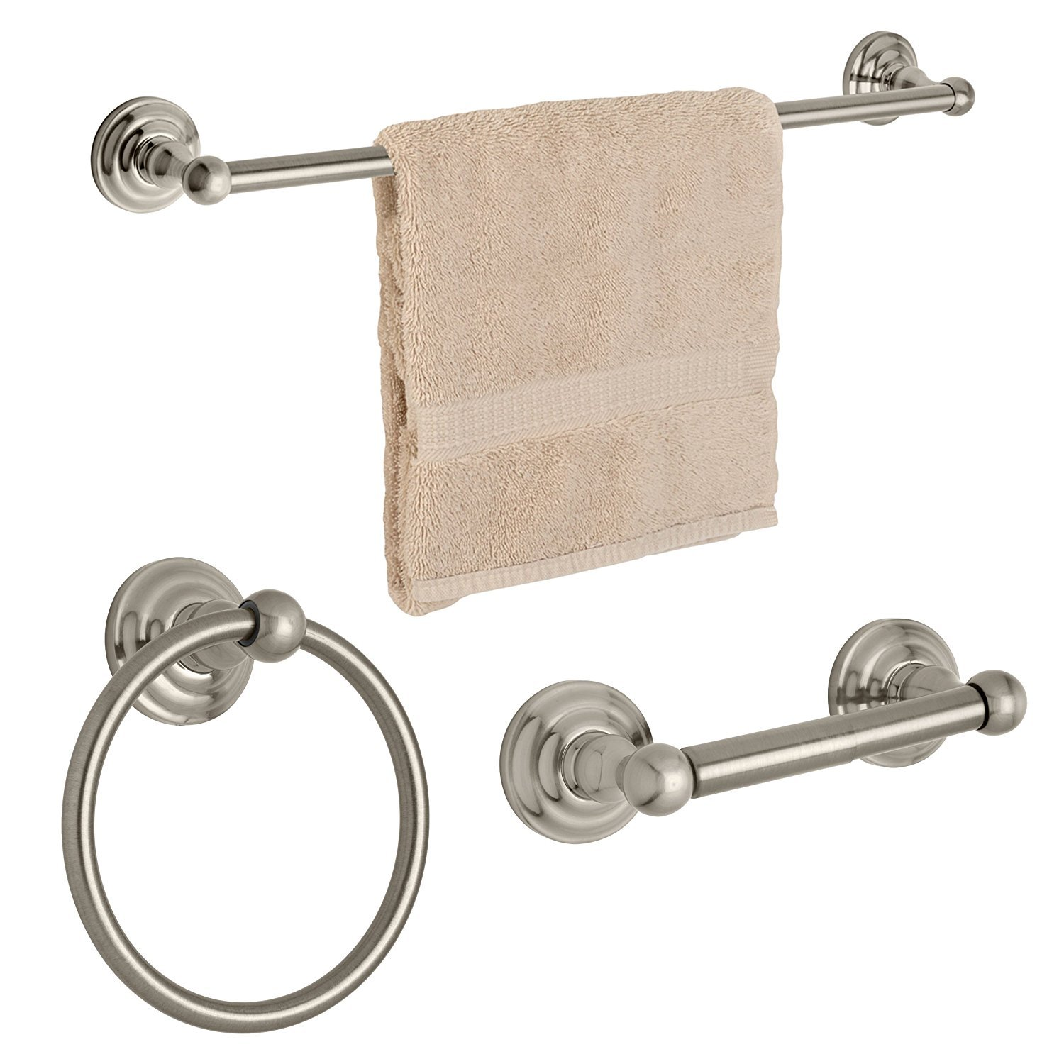 Dynasty Hardware 3800-SN-3PC Palisades Series Bathroom Hardware Set, Satin Nickel, 3-Piece Set, With 24 Towel Bar With 24 Towel Bar DYN-3800-SN-3
