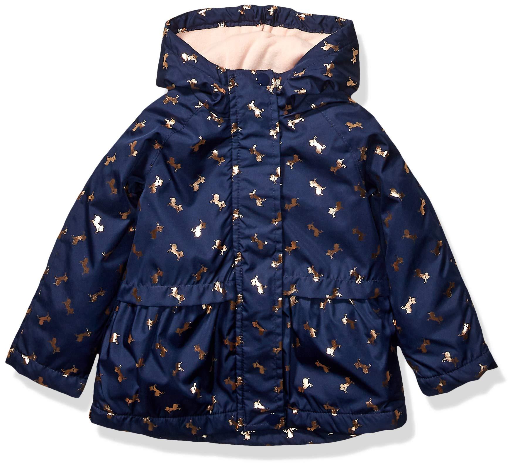 Osh Kosh Girls' Toddler Midweight Jacket with Fleece Lining, Gold Unicorns On Navy, 3T by OshKosh B'Gosh