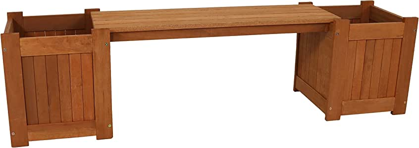 Sunnydaze Meranti Wood Outdoor Planter Box Bench with Teak Oil Finish - Furniture for Garden, Patio, Backyard, Porch and Deck - Wooden Outside Seating - 68-Inch