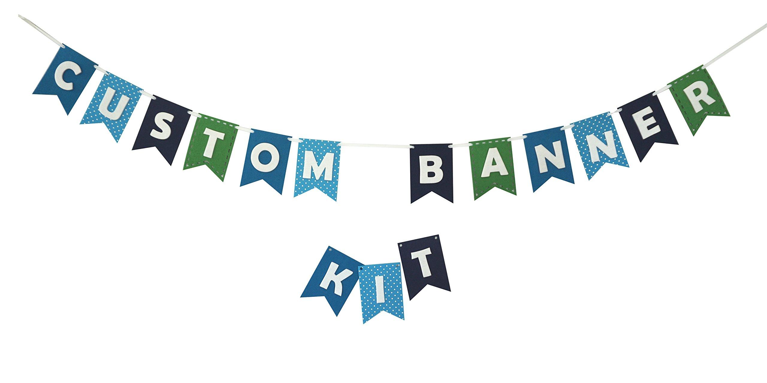 Custom Banner Kit Bunting Laser Cut Felt & Letters Customizable Length - Blues