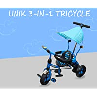 eHomeKart Tricycle for Kids - UNIK Deluxe Tri-Cycle with Sipper, Safety Guard, Bell, Parental Control Handle and Canopy - for Boys and Girls (1 Year - 4 Years) (Blue)