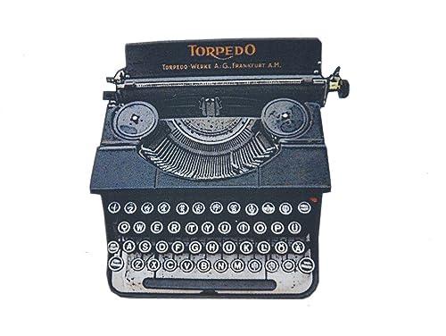 miniblings Máquina de Escribir Antigua máquina de Escribir LaserPrint Broche: Amazon.es: Joyería