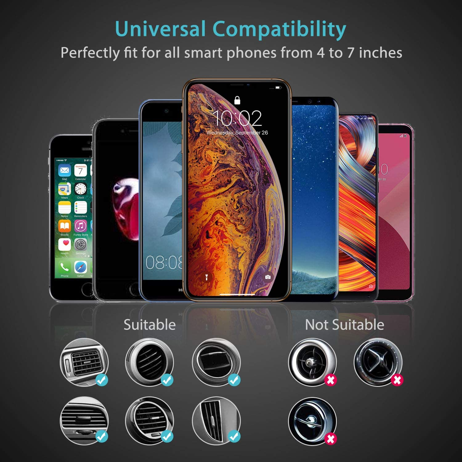 Syncwire 2-in-1 Air Vent Phone Holder Samsung Galaxy S10 Plus//S10//S9//S8//S7//Note Series and More Gravity Automatic Locking Universal Car Cell Phone Mount Compatible iPhone Xs MAX//XS//XR//X//8//8 Plus