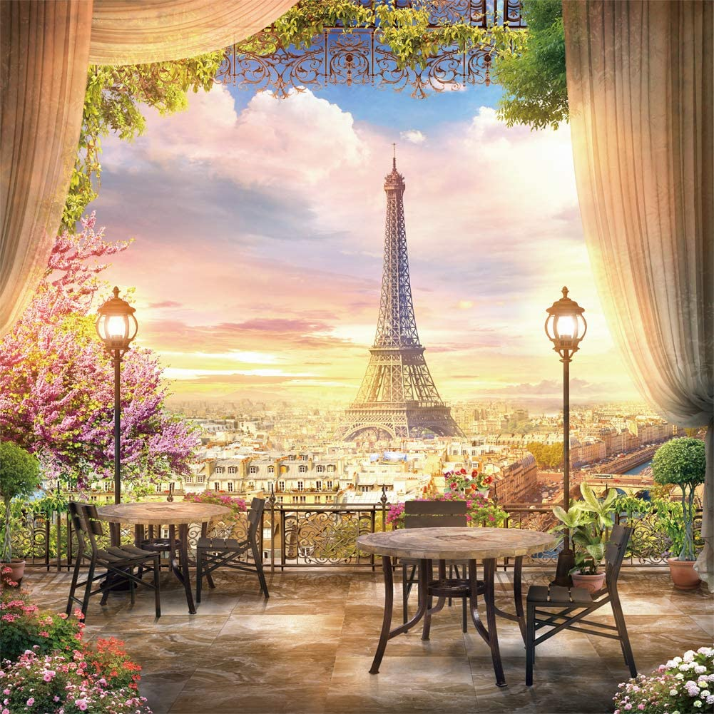 Riyidecor Eiffel Tower Panorama Backdrop 8x8 Feet Sunset Paris City View Platform Garden Old Lantern Wooden Chair Desk Curtain Flowers Photo Photography Background Props Photo Shoot Vinyl Cloth