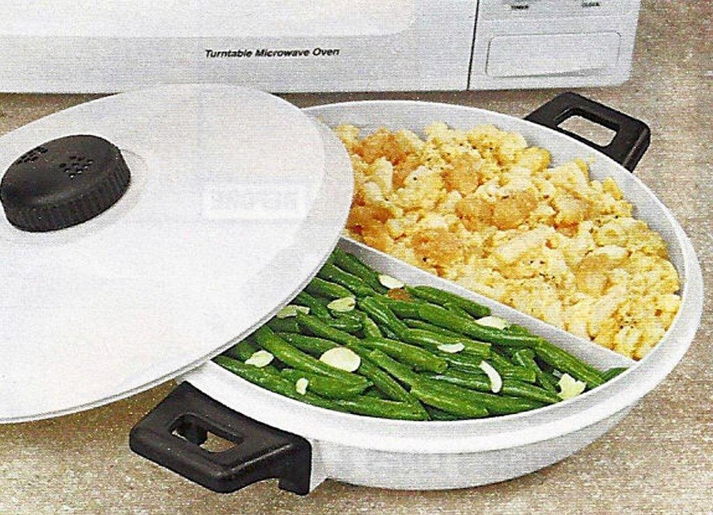 10 1/4'' MICROWAVE VENTED 2-SECTION CASSEROLE DISH