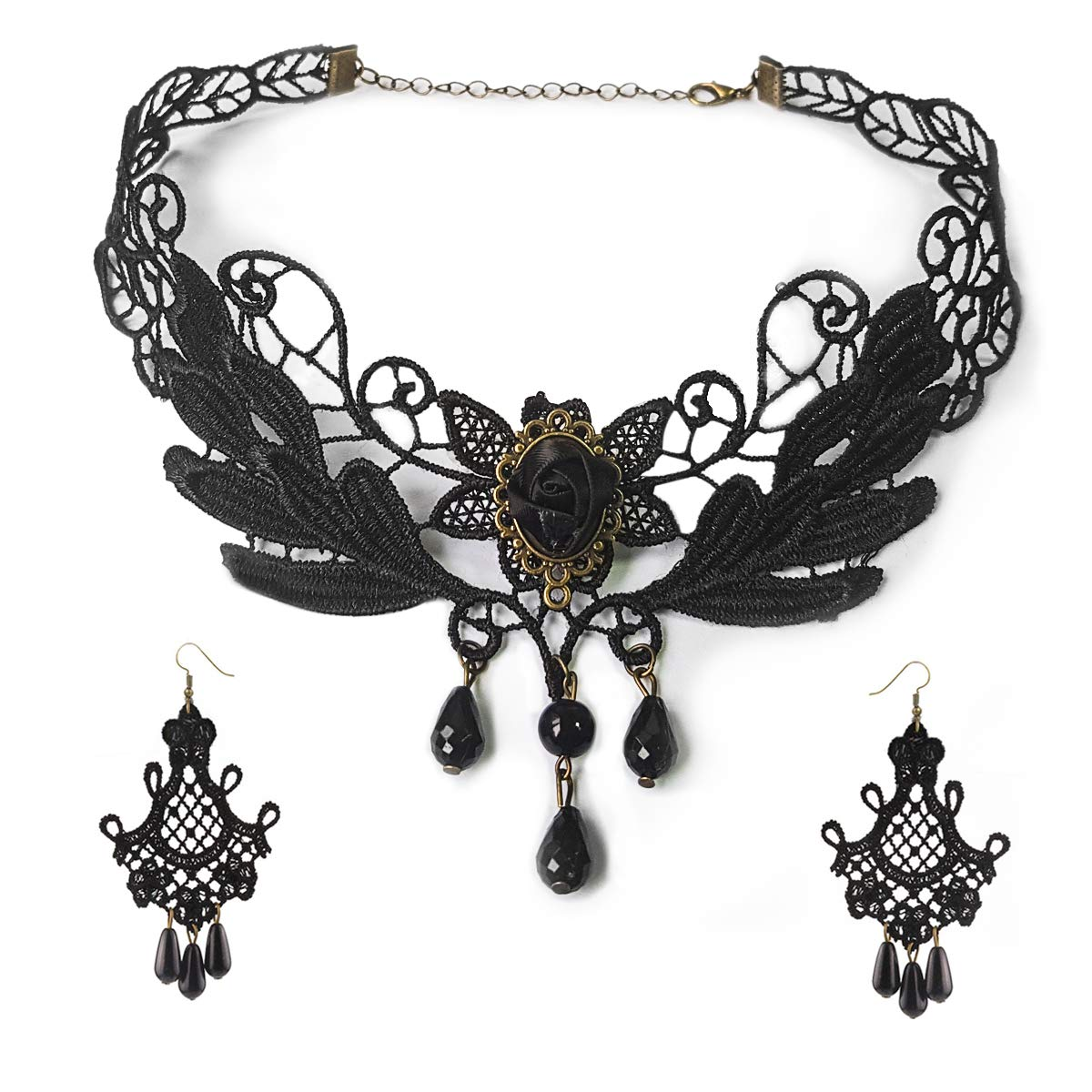 09df43e48620d Amazon.com: Black Lace Necklace Earrings Set - Gothic Lolita Pendant Choker  Clothing Accessories for Wedding Birthday Hallowen Christmas (Black1):  Jewelry
