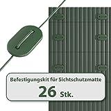 Draht f/ür PVC Sichtschutzmatten Sichtschutz 25, Grau ESTEXO Befestigungsclips Befestigungs Set
