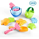 KIDAMI 12 Pieces Beach Sand Toys Set in Mesh Bag, with 8 Sand Molds, Rake, Sand Shovel, Sand Bucket and Watering Can for Great Fun