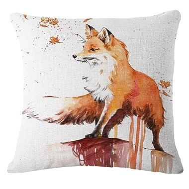SLS Cotton Linen Decorative Throw Pillow Case Cushion Cover lion Piillow case 18 X18 fox (8)