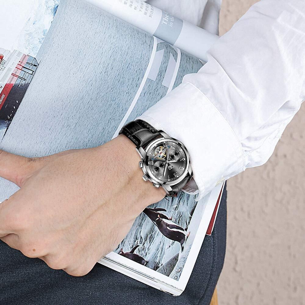 Män klocka klockor män mekanisk självrullande vattentät nattlig kalender moderiktig 02 Black-free
