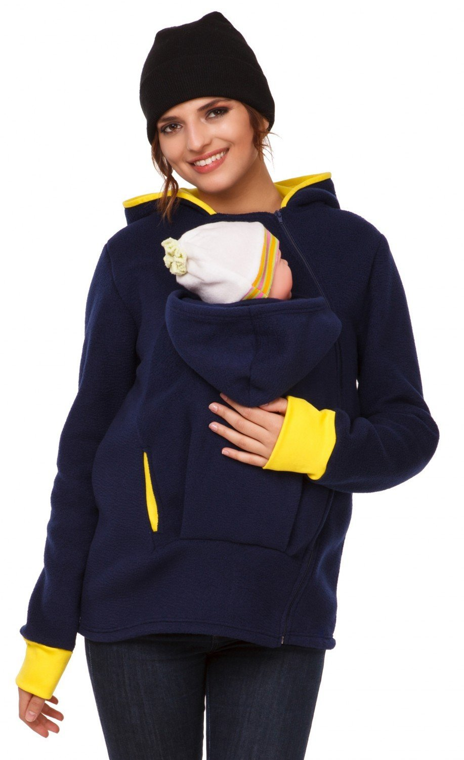 Happy Mama. Women's Maternity Fleece Hoodie Duo Top Carrier Baby Holder. 032p carrierhood_032
