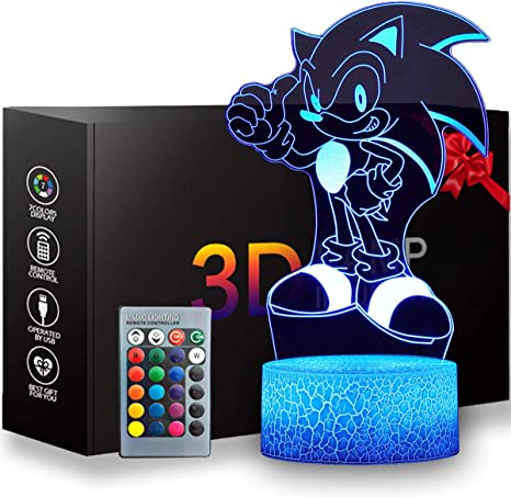 3D Illusion Sonic The Hedgehog Night Light Creative Lighting for Kids and Sonic The Hedgehog Fans Anime Table Lamp with Remote Control Kids Bedroom Decoration Runhedgehog
