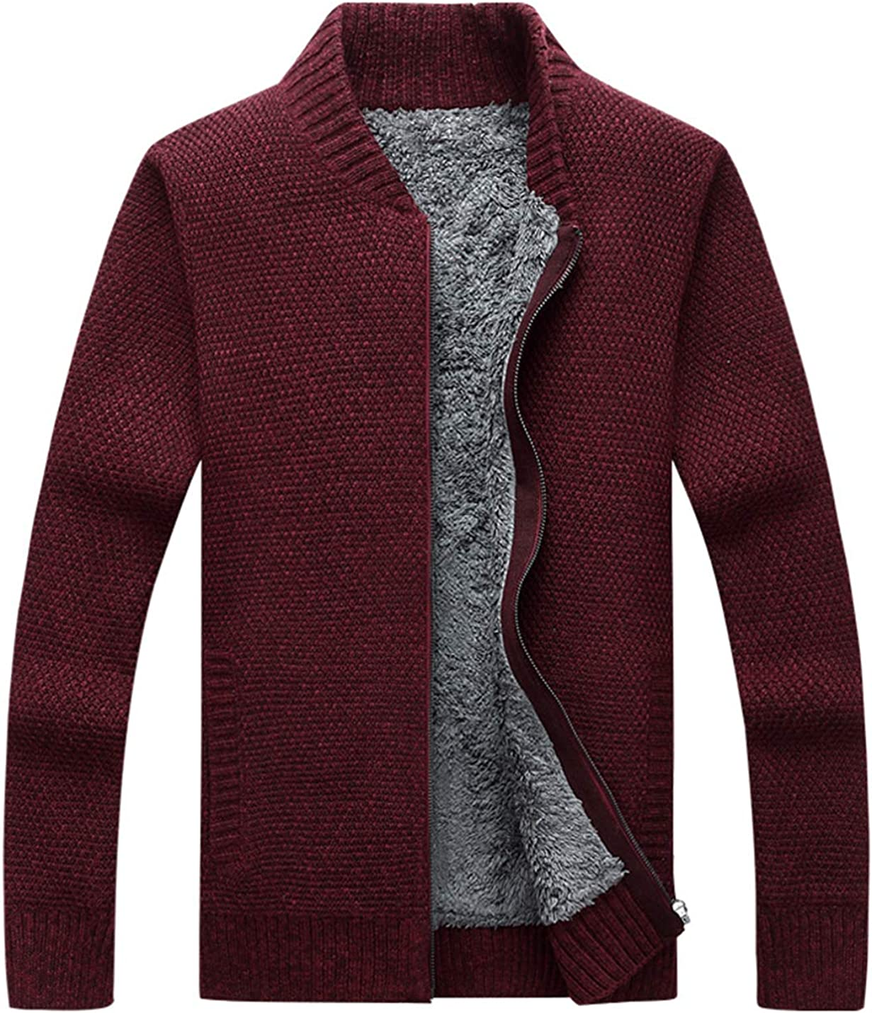Yeokou Mens Casual Stand Collar Zip Up Knitted Cardigan Sweaters with Pockets