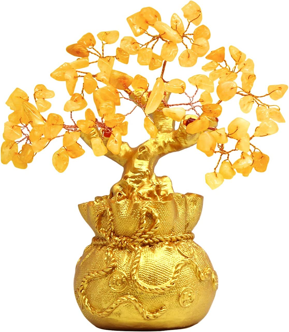 iTree Citrine Tree Bonsai Tree Quartz Crystal Money Tree Feng Shui Decoration for Wealth and Luck (Yellow)