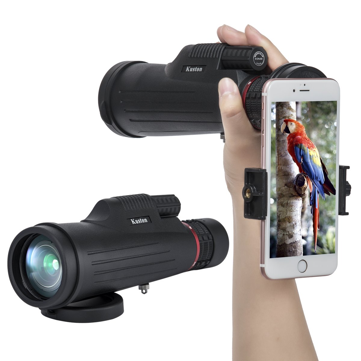Kuston Monocular Telescope,24x50 High Power Monocular Scope Waterproof Monoculars for Smartphone for Bird Watching