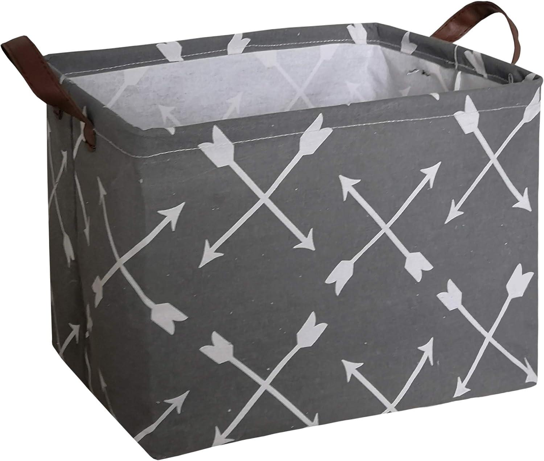 CLOCOR Rectangular Storage Basket,Collapsible Cute Pattern Storage Bin,Waterproof Coating Storage Box with Handles for Home Organization,Toy Organizer,Shelf Basket (Intersecting Arrows)