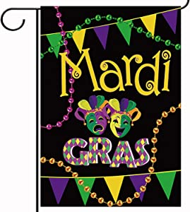 Mardi Gras Mask Garden Flag Vertical Double Sized, Holiday Party Burlap Yard Outdoor Decoration 12.5 x 18 Inch