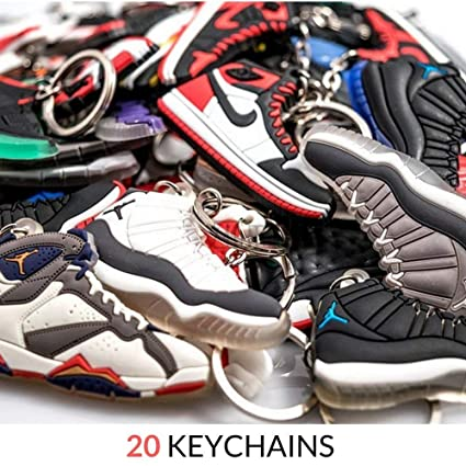 82d12aa5762b7 Jordan Retro Selector Pack - 20 Silicone Rubber Keychains - Retros