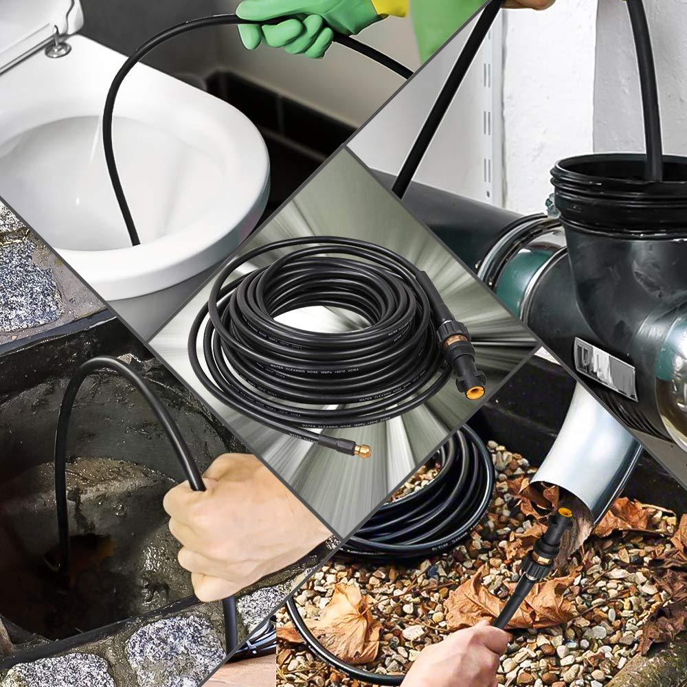 Adapter und d/üse f/ür Hochdruckreiniger,extrem wendig Wolketon Rohrreinigungsschlauch 20m 180bar 60/°C Rohrreiniger f/ür K/ärcher Anschluss Bajonett Rohrreinigungsset inkl