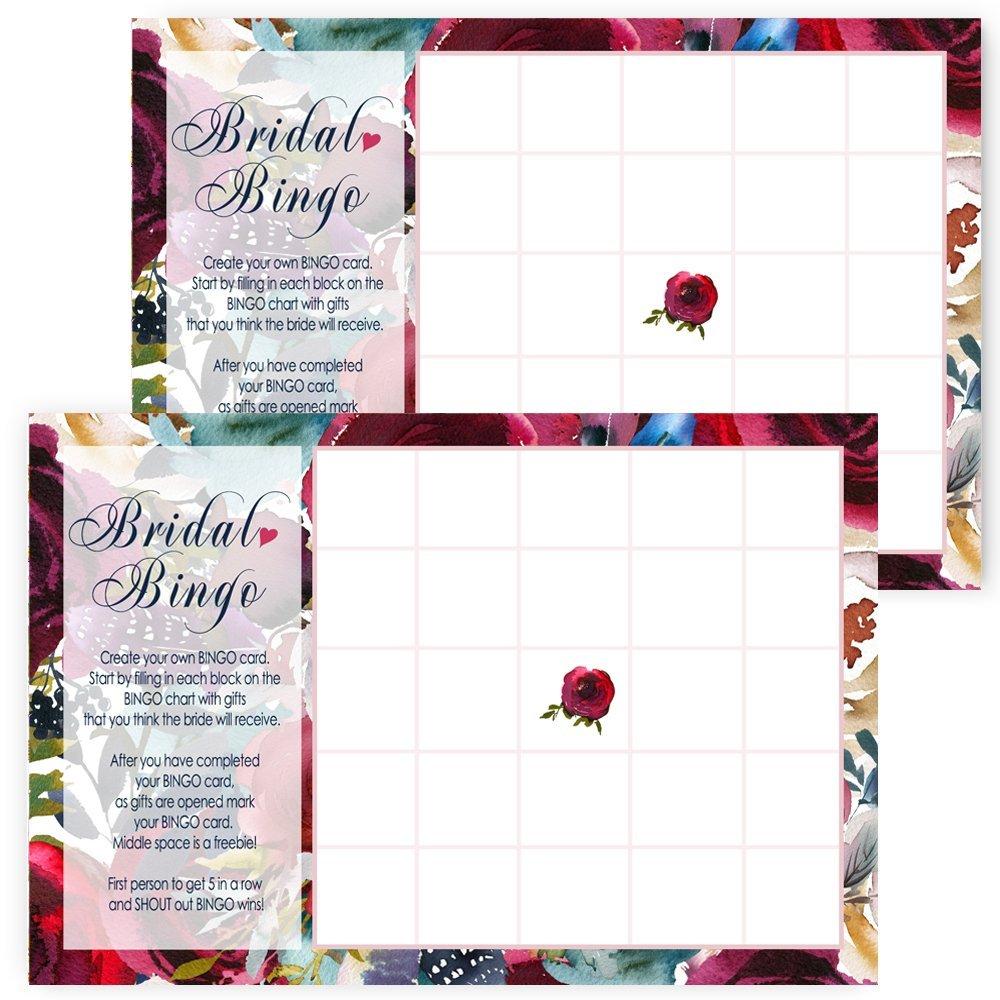 Navy Floral Bridal Shower Bingo Game Cards Pack of 25