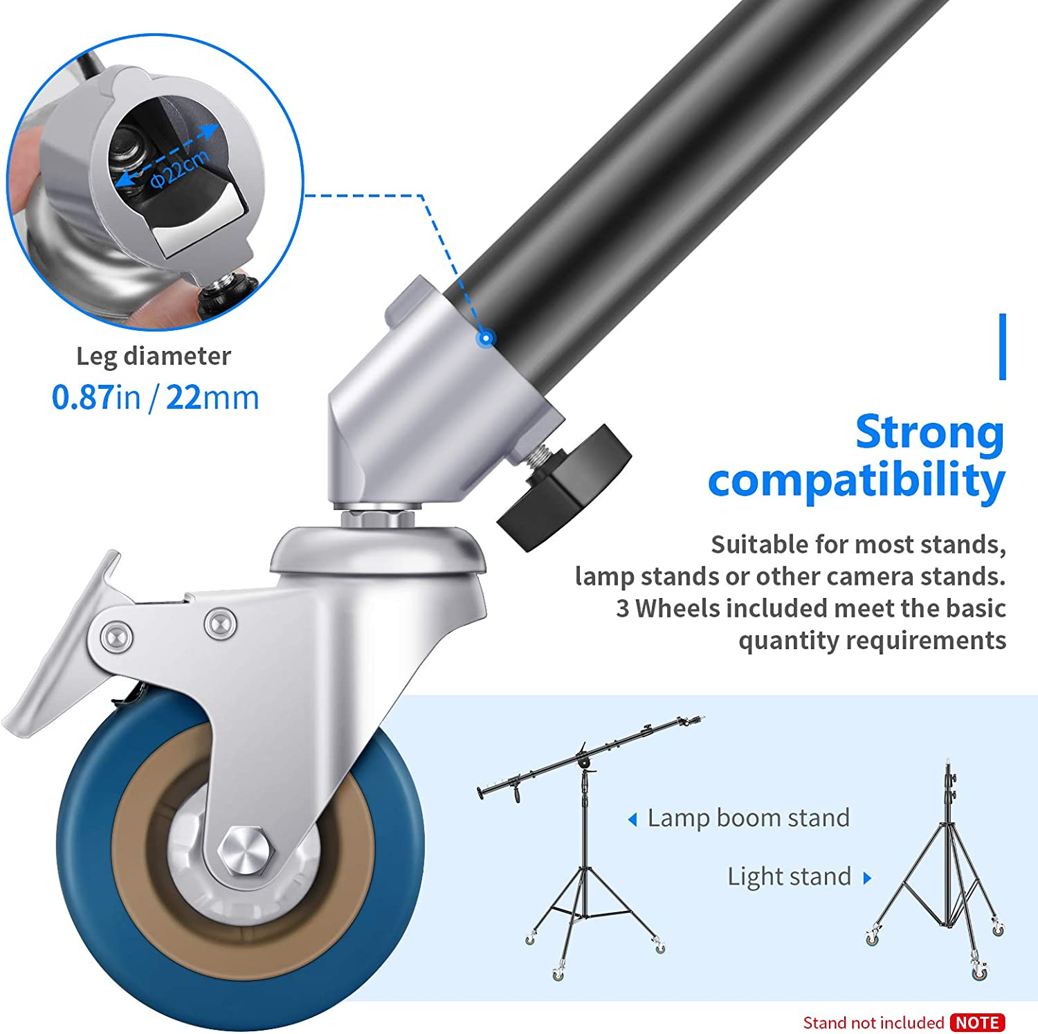 Neewer 3 Packs Professional Swivel Caster Wheels Set with 22mm Diameter Durable Iron Construction with Rubber Base Compatible with Photography Light Stand for Studio Photo Video Shooting