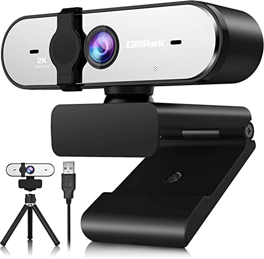 2K Webcam with Microphone, Campark QHD Streaming Computer Camera with AutoFocus, Plug and Play, Privacy Cover & Tripod, Webcams for Zoom/Skype/Facetime/Online Teaching/Conference【2021 Newest】