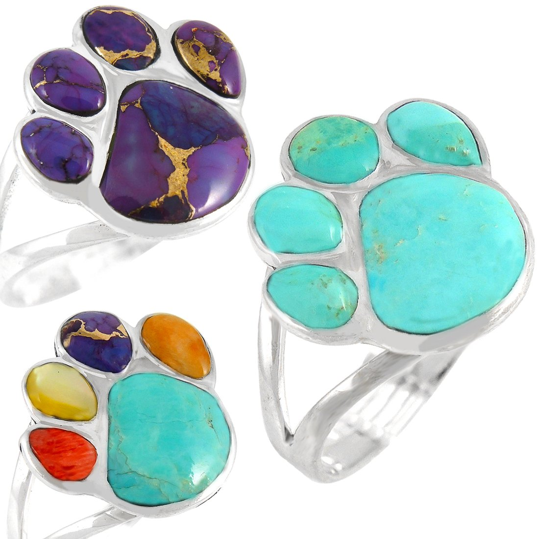 Dog Paw Ring in Sterling Silver & Genuine Turquoise (Multi-Gemstones, 7)