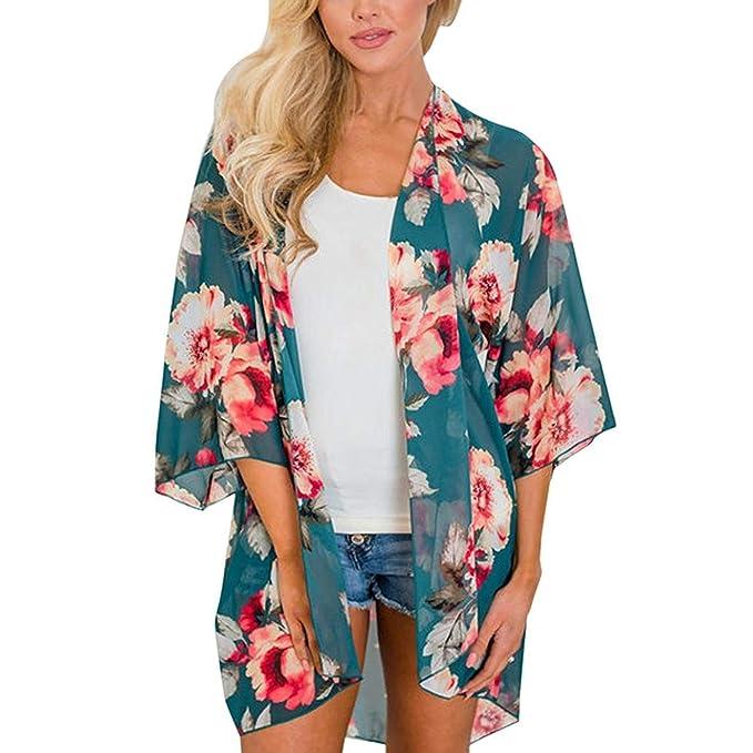 Adelina Abrigos Mujer Primavera Verano Ropa Hipster Boho Outwear Chiffon Estampadas Flor Manga Larga Irregular Cardigan Fino Transparentes Blusa Vestido: ...