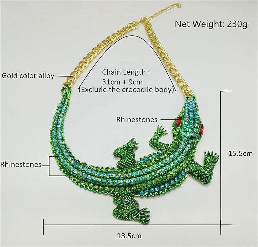 be9e122a5f4 Jewelry Baroque Inlay Full Green Crystal Rhinestone Big Crocodile Cayman  Chunky Statement Necklace Choker Collar Women