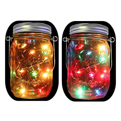 multi color outdoor solar jar design. 2-Pack Solar Powered Mason Jar Lights (Mason \u0026 Handle Included), Multi Color Outdoor Design E