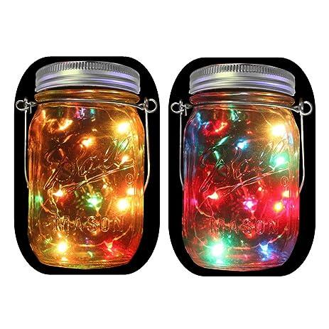 2 Pack Solar Powered Mason Jar Lights (Mason Jar U0026 Handle Included),