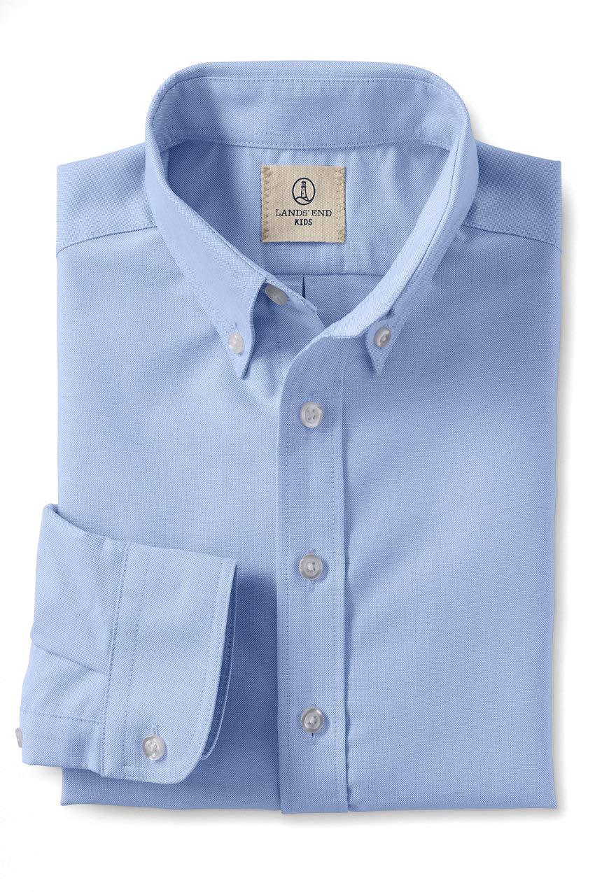 Lands' End School Uniform Boys Long Sleeve Oxford Dress Shirt Blue