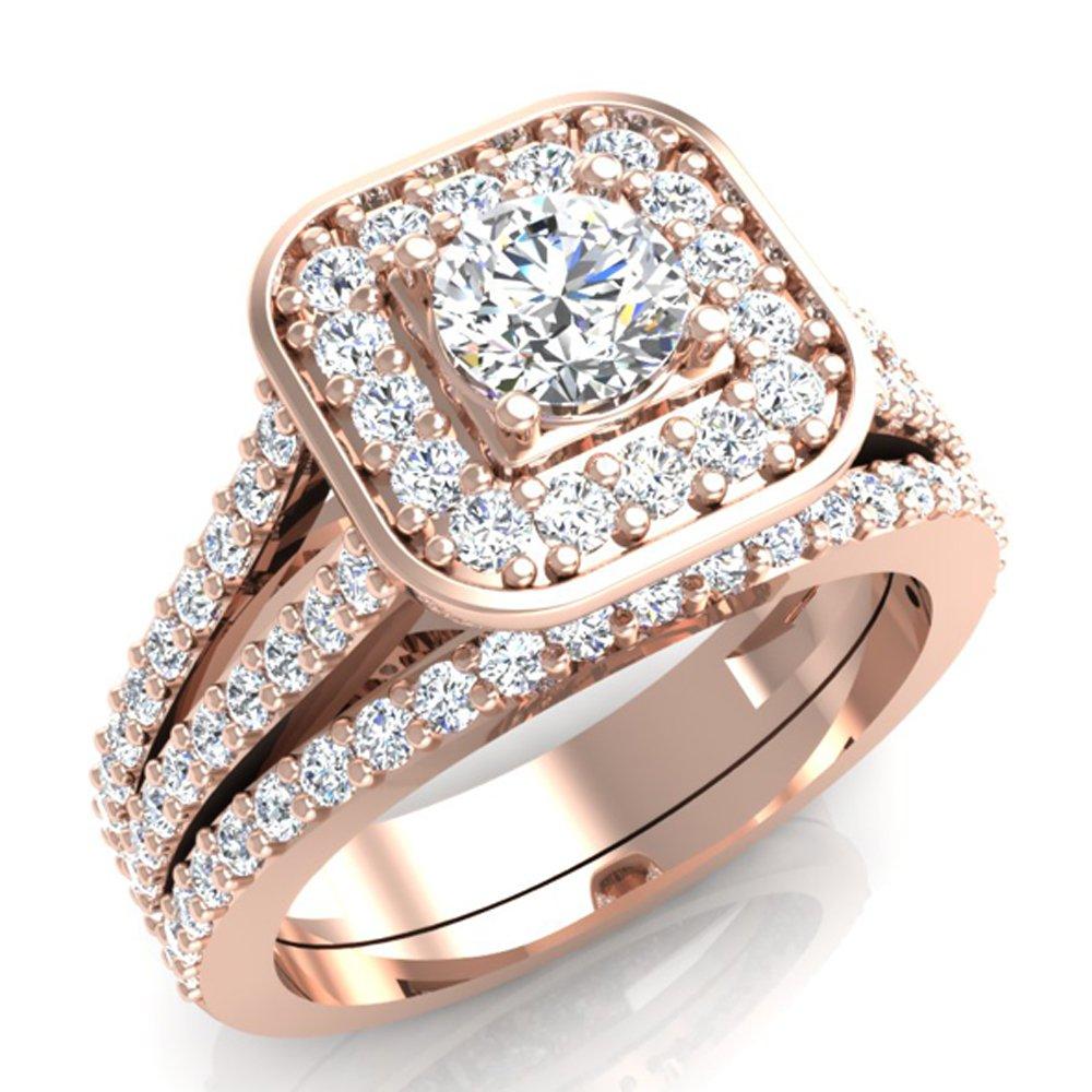 1.25 ct tw Cushion Halo Split Shank Diamond Engagement Ring Set 14K Rose Gold (Ring Size 9)