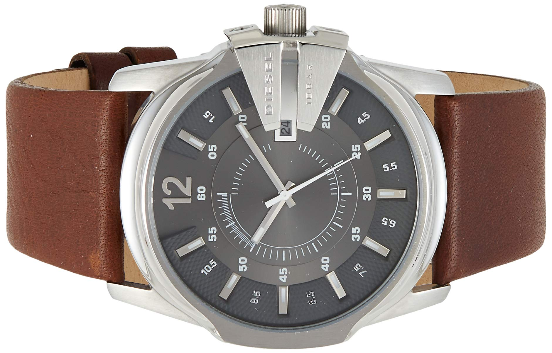 Diesel Men's Master Chief Quartz Stainless Steel and Leather Casual Watch, Color: Silver-Tone, Brown (Model: DZ1206) by Diesel