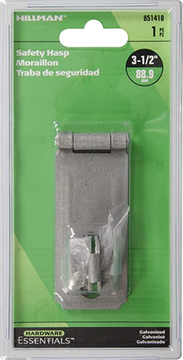 Hillman Hardware Essentials 852759 Fixed Staple Safety Hasp Galvanized 2-1//2 The Hillman Group