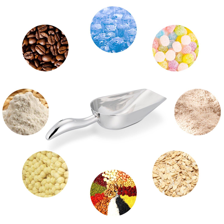LIANYU Ice Scoop, Stainless Steel Ice Scooper for Freezer Ice Machine Bucket Bar, Food Candy Popcorn Sugar Scoop, Flat Bottom, Heavy Duty, Mirror Finish - 8 Oz by LIANYU (Image #5)