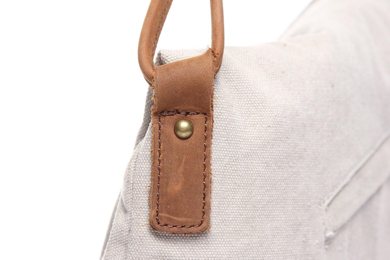 DAYIYANG Special Design Mens Messenger Bag Retro Canvas Bag Shoulder Crazy Horseskin Mens Bag Art Trend Unisex Color : White, Size : M