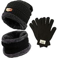Gifort caldo cappello lavorato a maglia e guanti touch screen, Unisex 3 pezzi cappello e sciarpa Set per uomo donna Fitness Outdoor Sport Jogging Sci escursionismo