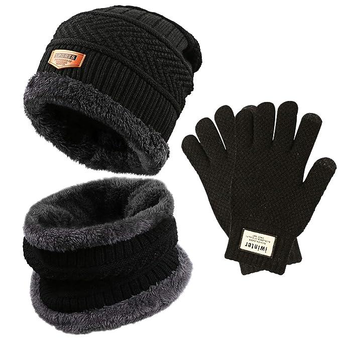 Gifort caldo cappello lavorato a maglia e guanti touch screen ... 3b26e6a539bb