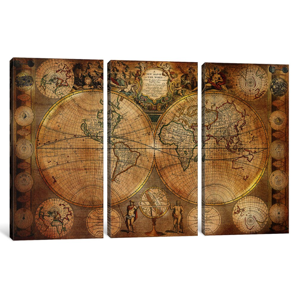 iCanvasART 3 Piece Antique Map #5 Canvas Print by Ginger 60 x 40//0.75 Deep