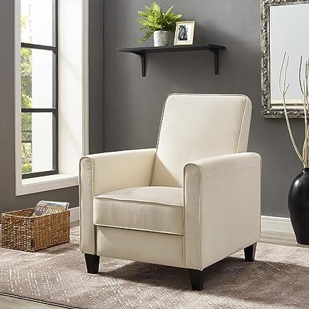 Naomi Home Landon Push Back Recliner Upholstered Club Chair Cream Linen