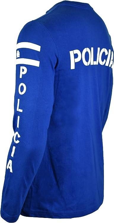 Aircops Camiseta Policia Manga Larga Hombre (L, Azul Royal): Amazon.es: Ropa y accesorios