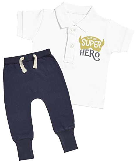 61780ec984d63d SR - Part Time Super Hero Baby Polo T-Shirt & Navy Joggers Baby Outfit