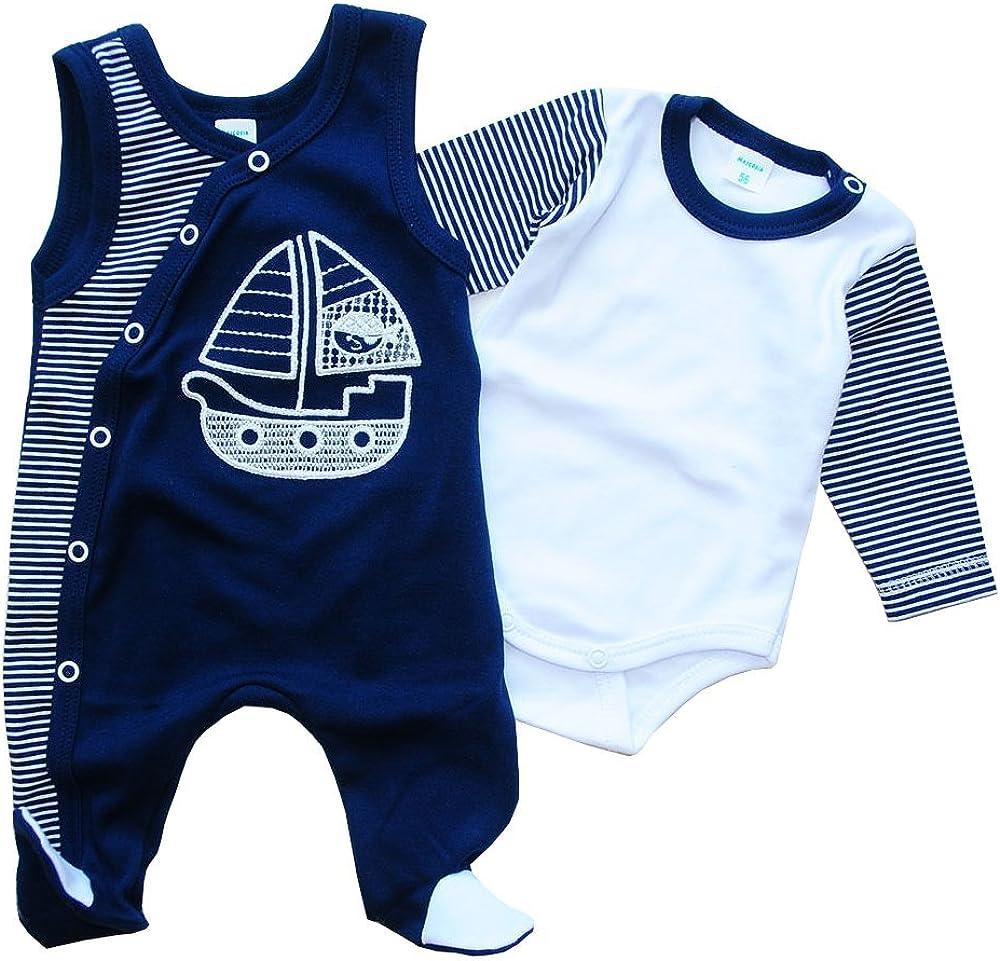 A/&O Strampler /& Body Baby Set Geringelt Blau Kombination Malgosia