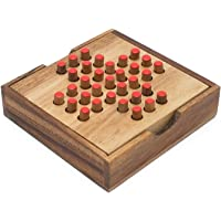 SiamMandalay Spanish Peg Solitaire Wooden Strategy Game by
