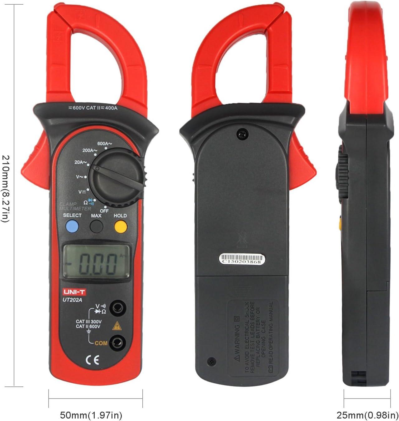 Uni T Ut202a Lcd Digitales Clamp Universalmessgerät Multimeter Handgehaltene Messzange Widerstands Frequenztester Voltmeter Stromkreisprüfer Ac Dc Ohm Baumarkt