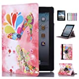 CULIKER - iPad air Case with Free Screen Protector and Stylus Pen 360 Rotating Colorful Design PU Leather Smart Stand Case Cover for Apple iPad air with Wake and Sleep Function